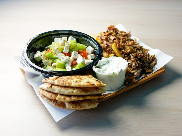 Gyros on a restaurant table Premium Photo