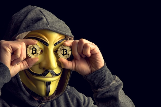 Hacker and bitcoin Premium Photo
