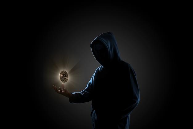Hacker in dark background concept Premium Photo