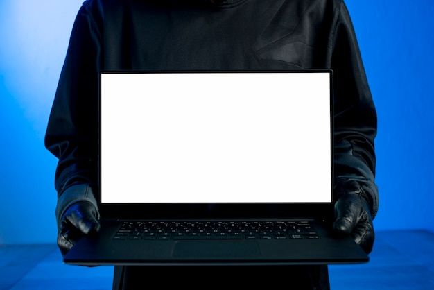 Hacker presenting laptop template Free Photo