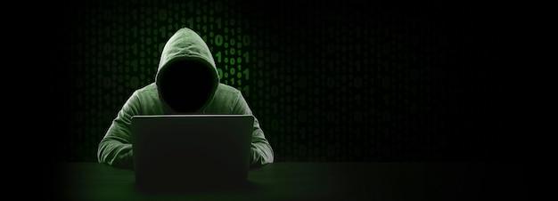 バイナリコードのフードに顔のないハッカー、テキスト用のスペースを備えたパノラマモックアップ Premium写真