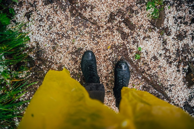 Hailstones under feet Premium Photo