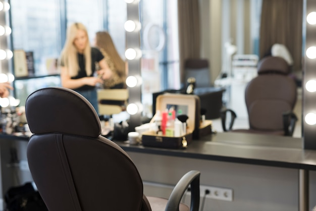Hair salon workplace Premium Photo
