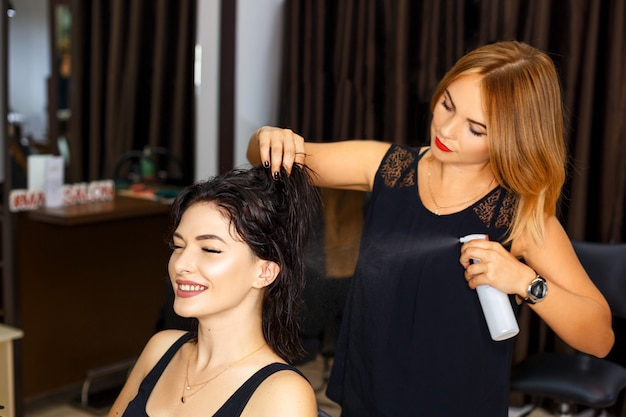 Hairdresser and client in the salon, beauty salon and hair care. Premium Photo