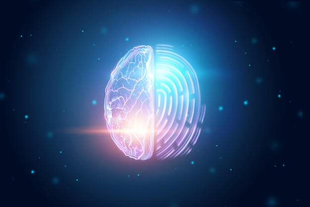 Half of the brain and fingerprint view from above Premium Photo