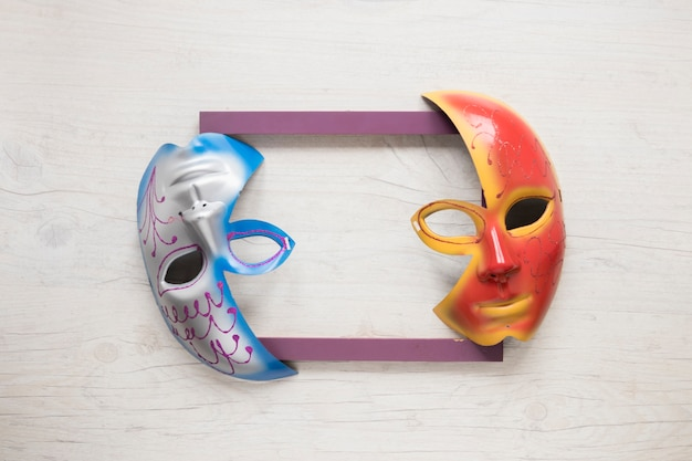 Half masks on frame Premium Photo