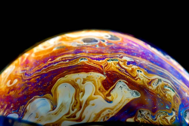 Half soap bubble ball abstract background semicircle. Premium Photo