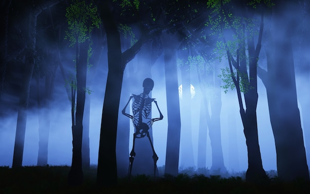Halloween background of a skeleton in a foggy forest Free Photo