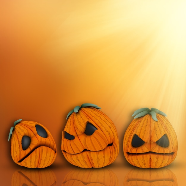 Halloween background with cute pumpkins Photo | Free Download