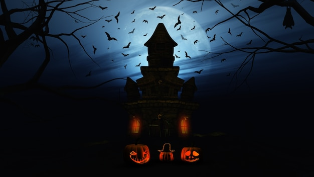 Halloween background with pumpkins and spooky castle Free Photo