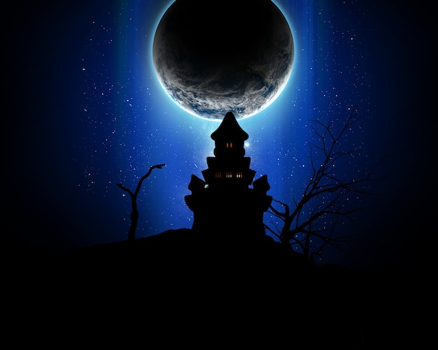 Halloween background with silhouette of a spooky castle against a fictional planet Free Photo
