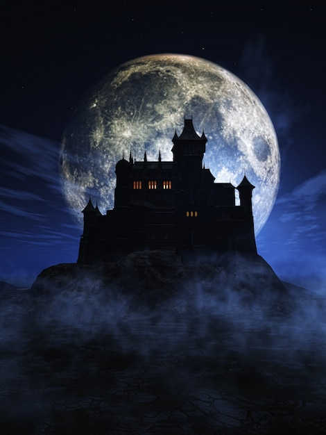 Halloween background with a spooky castle Free Photo