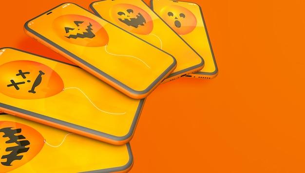 Halloween balloons on orange background Premium Photo
