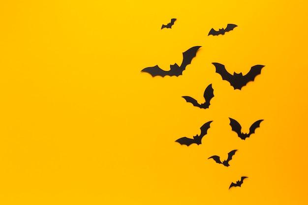 Halloween bats with orange background Free Photo