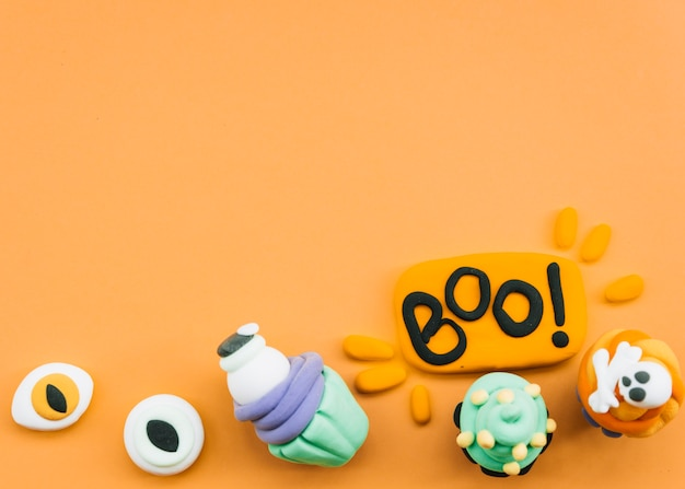Halloween composition with plasticine figures Free Photo