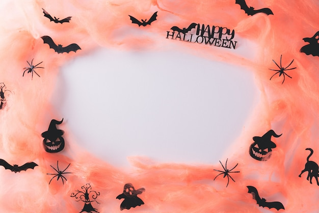 Halloween crafts on white with copy space. Premium Photo