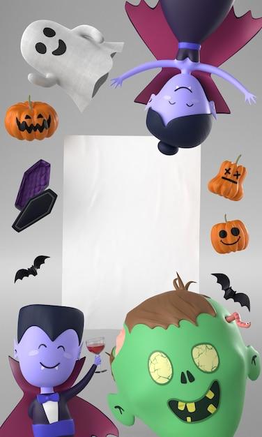 Cornice di decorazioni di halloween Foto Gratuite