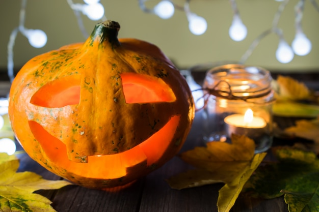 Halloween jack-o-lantern with candles and lights Premium Photo