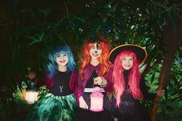 halloween looking smiling attire broom Premium Photo