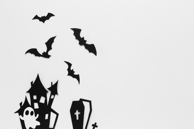 Halloween party elements on flat design Free Photo