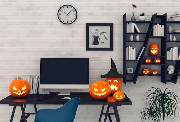 Halloween party interior living room with desktop computer and pumpkins Premium Photo