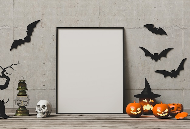 Halloween poster mock up in living room and pumpkins. Premium Photo