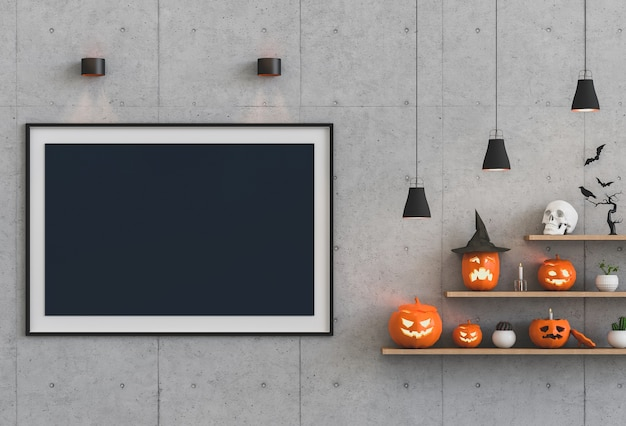 Halloween poster mock up in living room and pumpkins Premium Photo