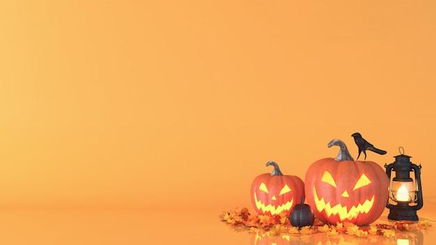 ハロウィーンのカボチャ、ジャックoランタン、ハロウィーンの装飾背景 Premium写真