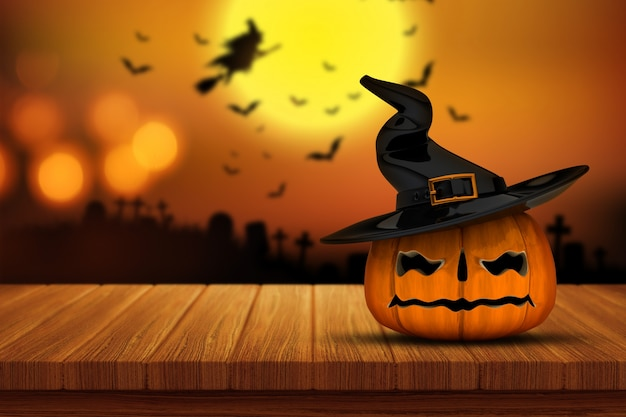 Halloween pumpkin on a wooden table Free Photo