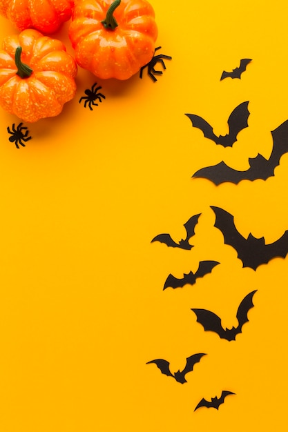 Halloween pumpkins and bats with orange background Free Photo