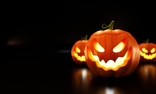 Halloween pumpkins illustration on black background. Premium Photo