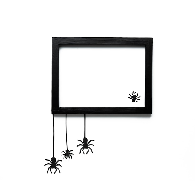Halloween spiders with mock-up frame Free Photo