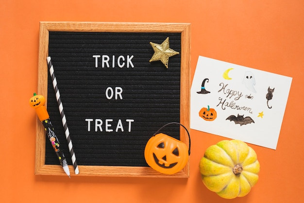 Halloween Symbols And Drawing Near Frame With Writing Photo Free