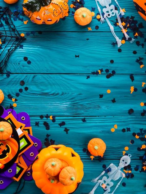 Рамка украшения halloween темная зеленая Premium Фотографии