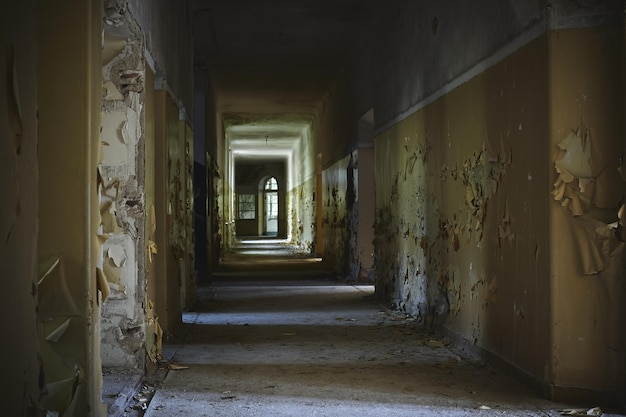 ライトの下に老朽化した壁がある廃屋の廊下 無料写真