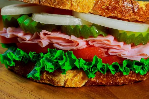 Ham sandwich with cheese Premium Photo