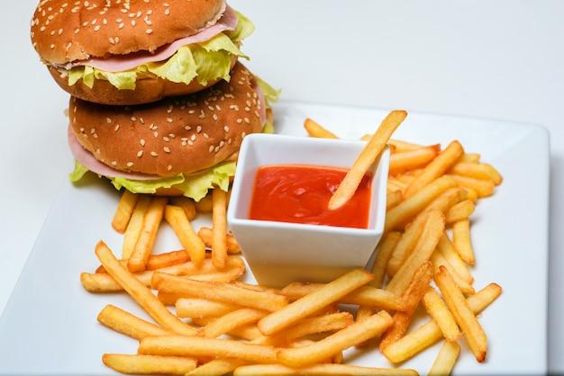 Hamburger and french fries Premium Photo