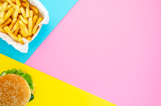 Hamburger and fries with copy space Free Photo