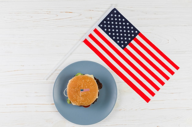 Hamburger with american flag Free Photo