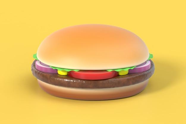 Hamburger on yellow Premium Photo