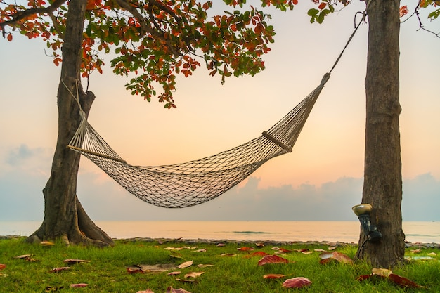 Hammock on the beach and sea Free Photo