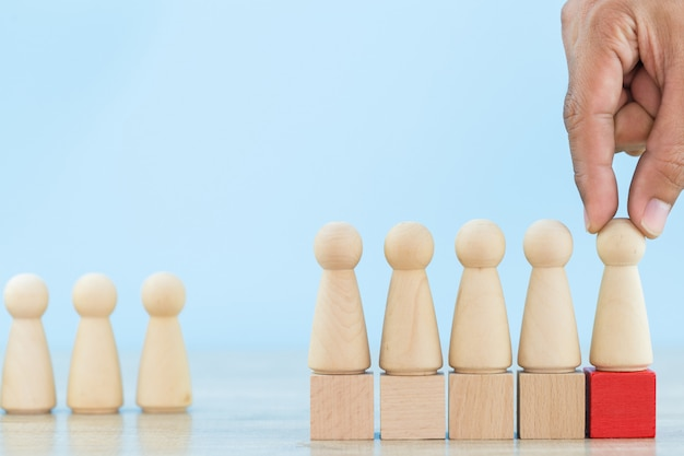 Hand business human resource, recruitment employee and talent managemen with successful business team leader concept -image. Premium Photo