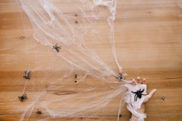 Hand in cobweb Free Photo