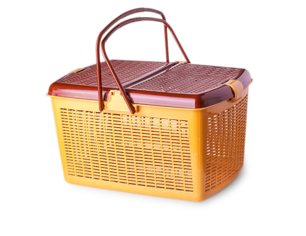 Hand craft plastic basket isolated Premium Photo