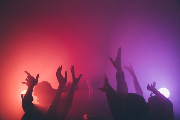 Hand of crowd in disco Free Photo