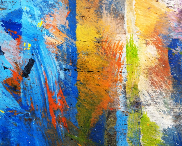 Hand draw colorful texture oil painting abstract background on wooden. Premium Photo
