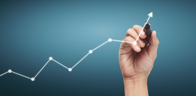 Hand drawing chart, graph stock of growth Premium Photo