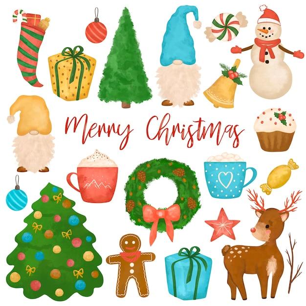 Ручной обращается рождественский клипарт, большой новогодний набор, снеговик, гномы, новогодняя елка, олень, торты, подарки Premium Фотографии