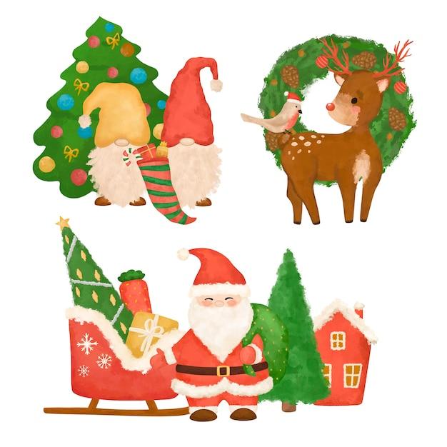 Ручной обращается рождественский клипарт, новогодняя иллюстрация, санта, гномы, олени, рождественский набор изолированные Premium Фотографии