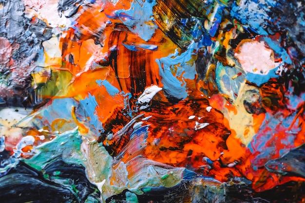 손으로 그린 유화. 추상 미술 배경입니다. 캔버스에 유화. 색상 질감. 삽화의 조각. 현대 현대 미술. 프리미엄 사진